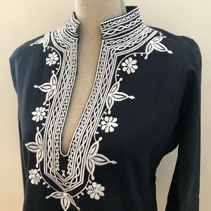 J. Crew Tops - NEW J. CREW Embroidered Navy/White Tunic S